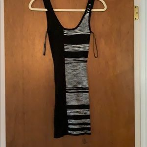 BeBe Black and White Stripped Bodycon Dress